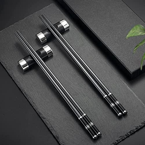 2 pares de palillos japoneses plateados/negros + 2 palillos chinos con bandejas, palillos chopsticks...
