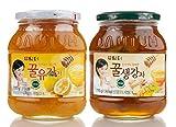 DAMTUH Korean Honey Tea, Citron Tea with Honey + Ginger Tea with Honey 27.16 Oz (770g) X 2 Bottles