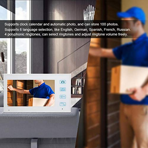 Intercomunicador Timbre Videoportero Teléfono inalámbrico para Toma automática de Fotos para Sistema de Seguridad para monitoreo en Exteriores(Transparency)