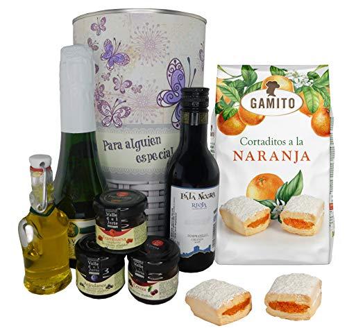 Lata con opción de PERSONALIZACIÓN mariposas con cava, vino tinto Crianza, Aceite Virgen extra, mermeladas y cortaditos de naranja
