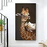 wZUN Cartel de Jirafa Imagen Animal Pintura al óleo sobre Lienzo Sala de Estar decoración del hogar Cartel de Ciervo 60x120 Sin Marco