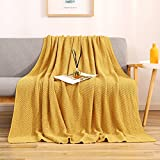 LIBCMLIAN Knitted Throw Blanket for Couch Bed – 100% Cotton Soft Warm Sofa Knit Throw Blankets, 50 x 60 Inches, Heavy 2.8lb Weight, Machine Washable, Laundry Bag Included
