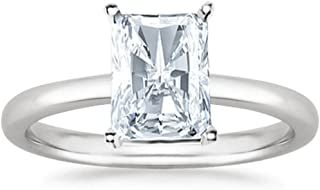 1 Carat GIA Certified 14K White Gold Solitaire Radiant Cut Diamond Engagement Ring (1 Ct I-J Color, I1 Clarity)