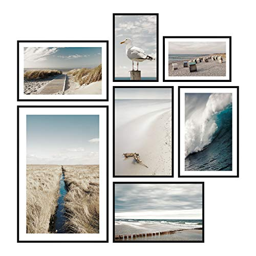 murando Set di 7 Poster con Cornice Nera Quadro Moderno Incorniciato Artistico Stampa Galleria Fotografica a Parete Collage Foto Immagini Decorazione Murale Paesaggio Mare Spiaggia Naturaa