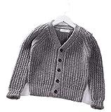 OneCherry sweater Cardigan Thick - Jersey de Punto para niña (algodón) Gris 4 Años