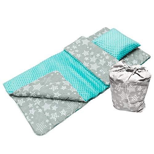 BabyBoom Schlafsack für Kleinkinder, Kindergarten, Zuhause, Bettwäsche für Kinderbett - MINKY + 100% Baumwolle -Gr. 75x140 cm + Kissen 40x35 cm inkl. Tasche, made in EU (Sterne grau - Minky Minze)