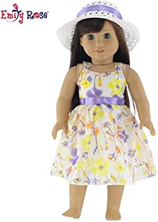 Emily Rose 18 Inch Doll Clothes   Gorgeous Floral Spring Easter Dress with Purple Trim, Including White Hat with Matching Ribbon   Fits 18