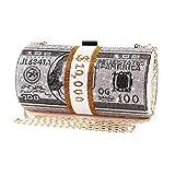 unidressup Woman Luxury Roll Diamond 10000 Dollar Clutch Handbag Ladies Evening Money Bag Rhinestone Party Purse with Short Chain,Gray
