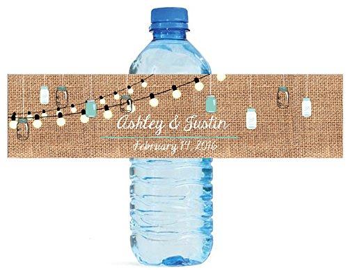 100 Burlap & Hanging Mason Jars Market Lights Wedding Anniversary Engagement Party Water Bottle labels Bridal Shower Birthday