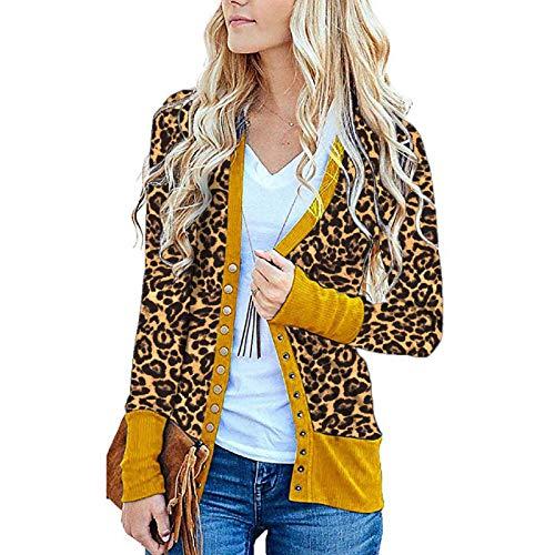 Katenyl Abrigo informal de un solo pecho con estampado de leopardo para mujer, chaqueta relajada para entrenamiento, moda para correr M
