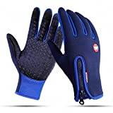 Cycling Gloves, Touchscreen Gloves for Men Women, Running Gloves Waterproof Windproof Anti-slip Winter Warm Gloves for Cycling Hiking Driving Climbing (Blue, M)