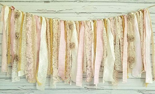 Price comparison product image Pink & Gold Shabby Chic Rag Tie Garland: ~ Photo Shoot ~ Wedding ~ Birthday ~ Nursery ~ Bridal Shower ~ Highchair Banner ~ Baby Shower ~ Gender Reveal ~ Decorations ~ Wall Decor! (3 FEET Wide)