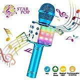 ShinePick Microfono Karaoke, 4 in 1 Bluetooth Wireless LED Flash Microfono Portatile Karaoke Player con Altoparlante per Android/iOS, PC e Smartphone(Blu)