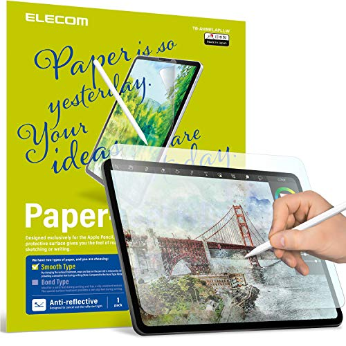 ELECOM Pencil-Feel Screen Protector Compatible with iPad Air 4 (10.9inch, 2020) /iPad Pro 11' 2018/2020, Designed for Drawing, Japan-Made *Smoothness 100*(TB-A18MFLAPLL-W)