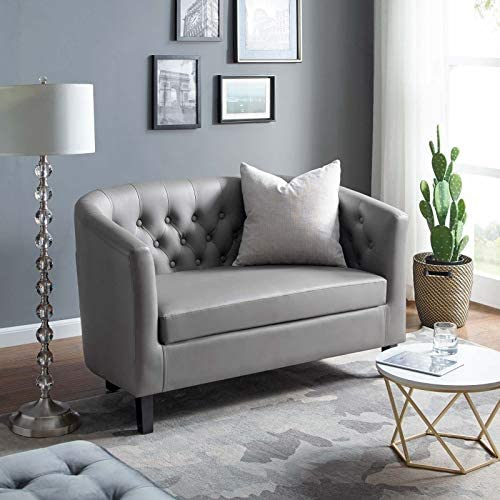 Best Modway Prospect Upholstered Contemporary Modern Loveseat In Gray Faux Leather