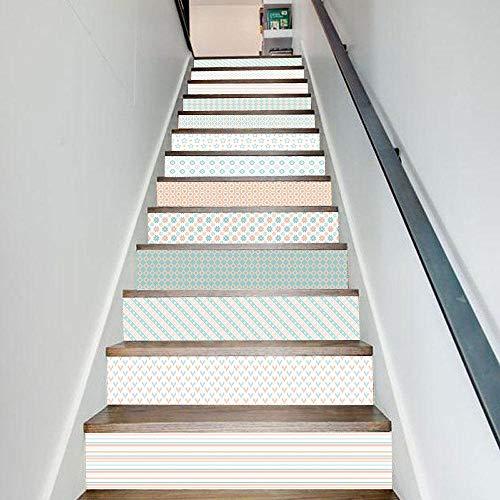 Escalier Stickers 3D Couleur stickers escalier contremarche Auto adhésifs DIY autocollant mural amovible étanche à la maison 100CM X 18CM X6pcs