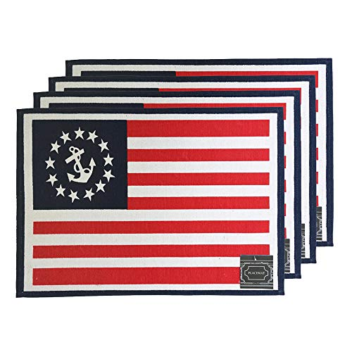 "Set of 4, Anchor American Flag Design Printed Tapestry placemats for Dining Table, Table mat for Dining Room Easy to Clean, Machine Washable Size: 13"" x 19""."