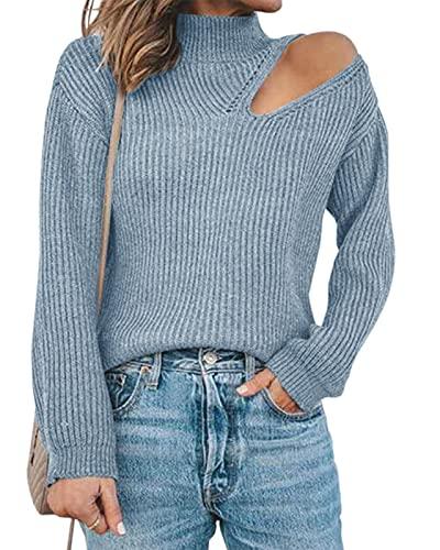 Maxwinee Jersey de punto para mujer con hombros descubiertos, sexy, manga de farolillo, para invierno, monocolor, azul, S