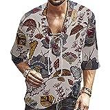 Men's Novelty Graphic Print Linen Shirts 3/4 Sleeve Henley Cotton T-Shirt Loose Fit Summer Lightweight Beach Yoga Tops