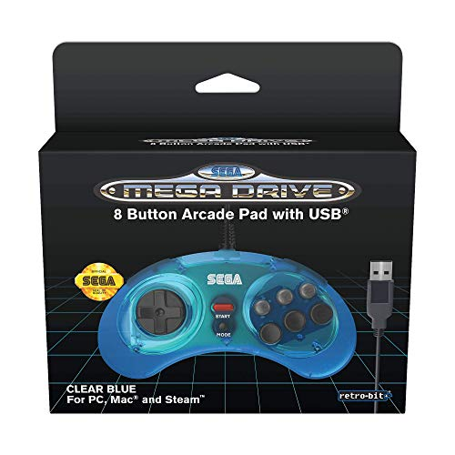 Retro-Bit Official SEGA Mega Drive 8-button Arcade Control Pad USB - Blue