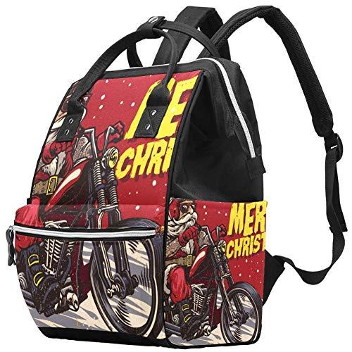 TIZORAX Riding Motor Santa Claus Grande Capacité Nappy Backpack Baby Diaper Bag Rucksack Travel Bag for Mums and Dads