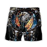 Bañadores Para Hombre Impresión 3D Viento Étnico Boho Águila Animal Hombres Shorts De Playa Short Homme 3D Print Quick Dry Drawstring Board Short Pantalones Cortos De Fitness Pantalones Cortos D