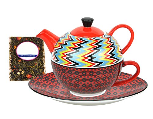 MamboCat Tea for one Set im Retro Design mit Zick-Zack Dekor - Jameson & Tailor 7329 + Teeprobe