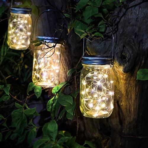 CozyHome Geschenkideen Solarglas Aussen wetterfest | 3x Stück Led Glas mit Lichterkette warmweiß | Solar Laterne Gartendeko Weihnachten | Balkon Licht & Garten Deko Laternen für draußen - Solarlampe