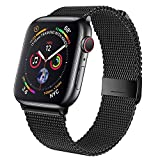 Geoumy Band Compatible with Apple Watch Band 42mm 44mm,Stainless Steel Mesh Loop Replacement