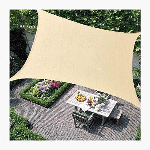 HHJJ Sonnensegel Rechteck Wasserdichter Sonnensegel-Baldachin für Terrassen Quadratische UV-Blockmarkise Dickes, abriebfestes, beigefarbenes Sonnensegel-Tuch,3.6x3.6m(12x12ft)