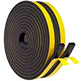 High Density Closed Cell Neoprene Self-Stick Weather Stripping Door Seal Strip, 2 Individual Rolls 1/2' W x 1/4' T x 26 FT (2 x 13 Ft Each) Good Adhesion Door and Window Insulation