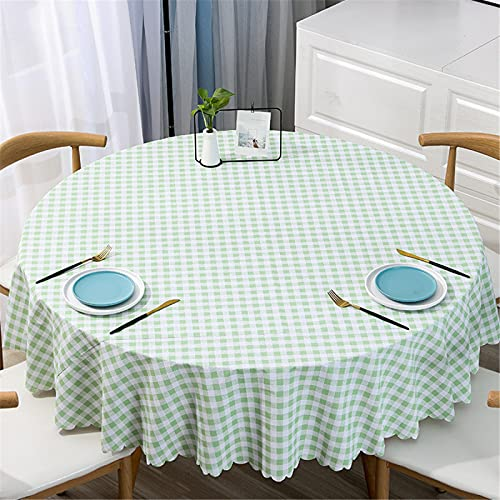 Mantel Redondo De PVC De Gran Tamaño A Prueba De Agua Y Aceite para El Hogar, Mantel Redondo De Impresión A Cuadros De Color Sólido Diameter160cm