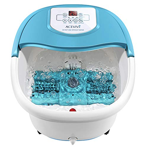 Foot Spa Bath Massager with Heat and Bubbles, Foot Bath Tub with Motorized Rollers, Foot Spa with Temp Control Screen, Massage Frequency, Timer and Pumice Stone
