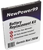 Garmin Nuvi 205W Battery Replacement Kit with Tools, Video Instructions, Extended Life Battery