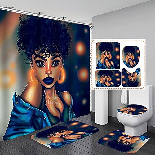 Fashion_Man 16PCS/Set African Woman Shower Curtain Waterproof Cloth Polyester Bath Curtain Bathtub Curtains, Exotic Afro Girl Lady Non-Slip Bathroom Carpet Bath Mat Toilet Rugs, 72'x72', Sexy Girl