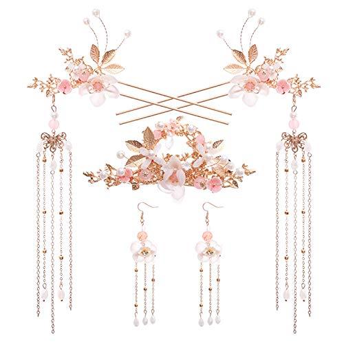 Tangpingsi Conjunto de joyería para mujeres y niñas, de cáñamo chino, con borlas antiguas flores, horquillas para el pelo, pendientes, tenedores para el pelo, accesorios para el pelo