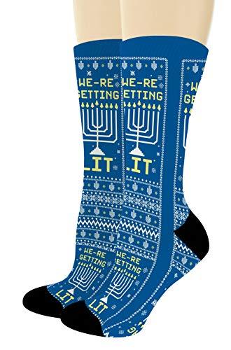 Pun Gifts We're Getting Lit Menorah Socks Chanukah Gift Chanukah Socks 1-Pair Novelty Crew Socks