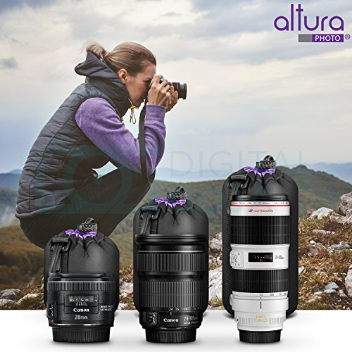 (3 Pack) Altura Photo Thick Protective Neoprene Pouch Set for DSLR Camera Lens (Canon, Nikon, Pentax, Sony, Olympus, Panasonic) - Includes: Small, Medium and Large Pouches