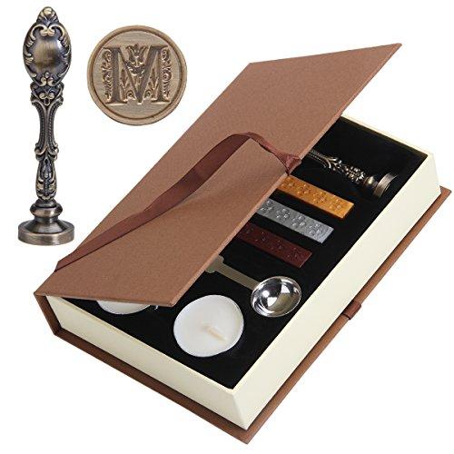 Wax Seal Stamp, PUQU Vintage Initial Letters Metal Handle Wax Envelope Seal Stamp Gift Set Kit,Bronze(M)