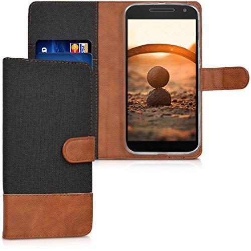 kwmobile Wallet Hülle kompatibel mit Motorola Moto G4 / Moto G4 Plus - Hülle Kunstleder mit Kartenfächern Stand in Schwarz Braun