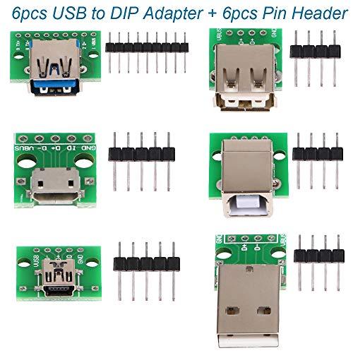 6 Stück USB zu DIP Breakout Adapter Converter, Mini 5p USB-Stecker, 2.54mm 4p, USB 2.0 4p, USB 3.0 Flach, Micro-USB Typ B, USB Typ-B Quadrat DIP-PCB Modul