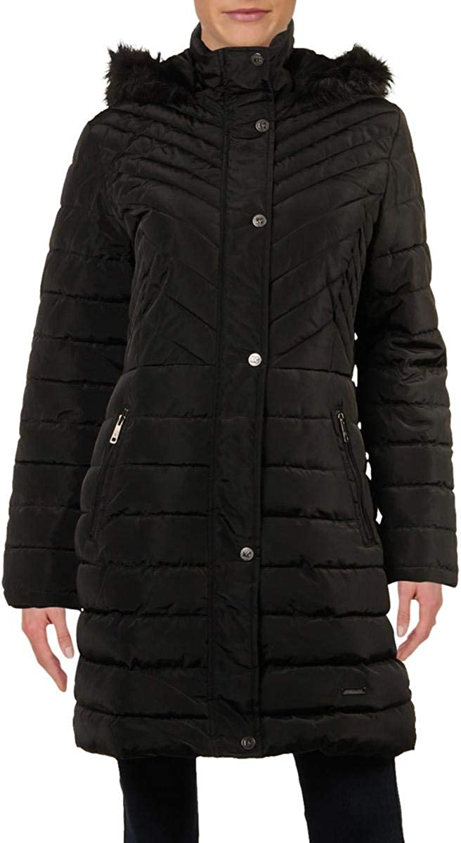 Kenneth Cole Women's Quilted Puffer Jacket with Faux Fur Trimmed Hood