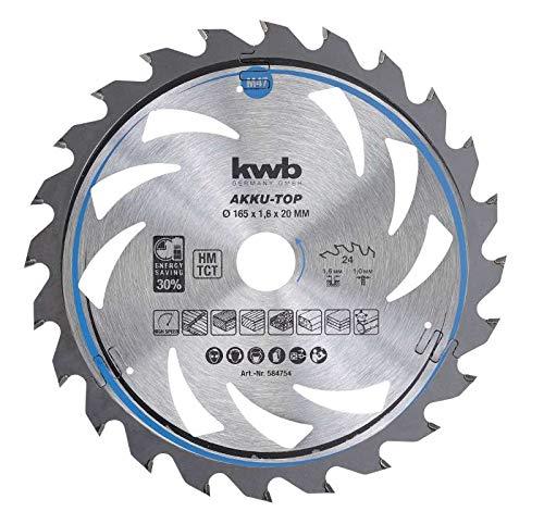 kwb 584754 Energy-Saving Kreissäge-Blatt Easy Cut, Ø 165 x 20 mm Dünn-Schnitt mit Spezial-Wechselzahn 24 Zähnen Z24, AKKU-TOP Dünnschnitt, 165 x 20