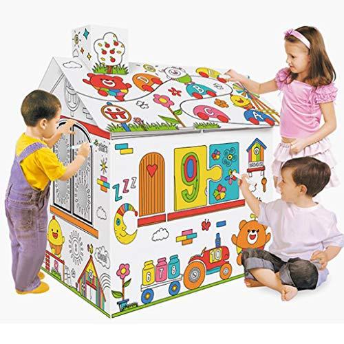 Diy Doodle Schilderij Speelgoed Papier Huis Kartonnen Kleuren, Kinderen Kleuren Speelhuisje Tekenen Graffiti Papier Speelgoed Met Muzieklicht, Schilderen Educatief Speelgoed Voor Kinderen