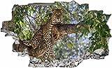 DesFoli Gepard Leopard 3D Look Wandtattoo 70 x 115 cm Wanddurchbruch Wandbild Sticker Aufkleber C034