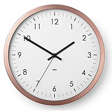 Umbra Wall Clock - 12  Round Metal Frame - Battery Operated - Decorative Wall Clock for Kitchen, Nursery, Office, School, Hospital - With Silent Second-Hand