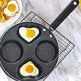 Padella per uova fritte Pentola per uova fritta a quattro fori Uovo Prosciutto Macchina per pancake Padella antiaderente fritta Senza olio Fumo Facile da pulire Ecologico