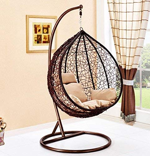 Chair Hanging Rattan Swing Patio Garden Weave Egg with Cushion in or Outdoor (Large, Brown)