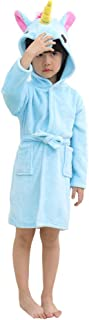 Kids Unicorn Hooded Bathrobe Sleepwear Soft Fleece Shower Robe for Girls and Boys Party Birthday