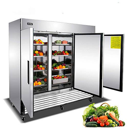 Commercial Freezer 72 Cu Ft Freezer with 3 Doors Stainless Steel Upright Freezer with 9 Adjustable Shelves Bottom Mounted Freezer for Restaurant Cafe Bar 0℉ to 10℉